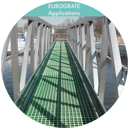 grated walkways with safety handrails
