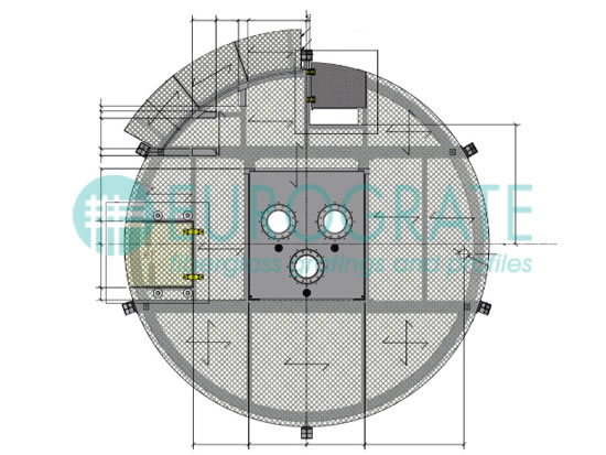 disegno tecnico di un grigliato su misura per una piattaforma petrolifera