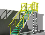 Struttura con profili e gradini grigliati in 3D